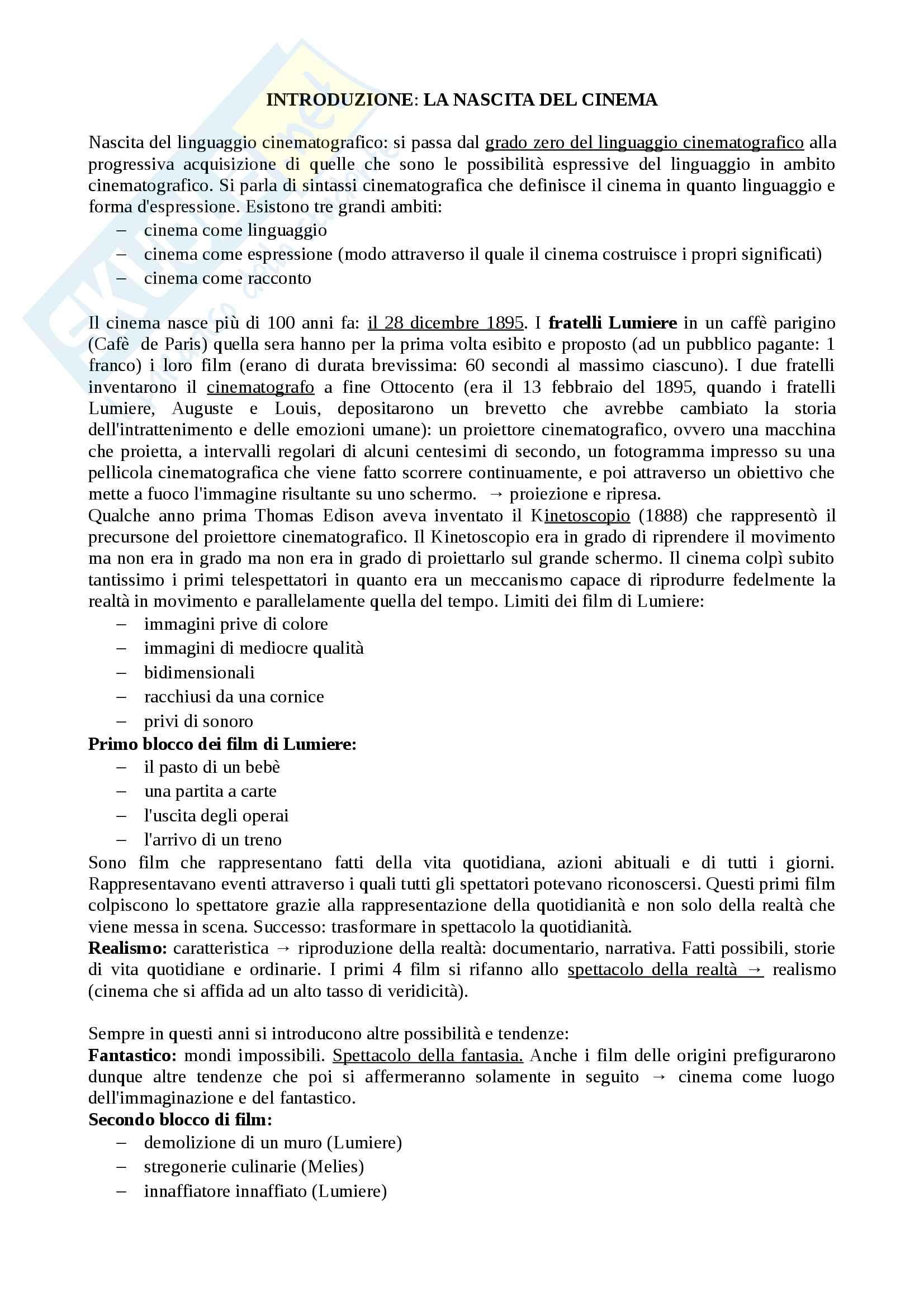 Riassunto esame storia del cinema, prof. Tomasi, libro consigliato Manuale del Film, Rondolino, Tomasi