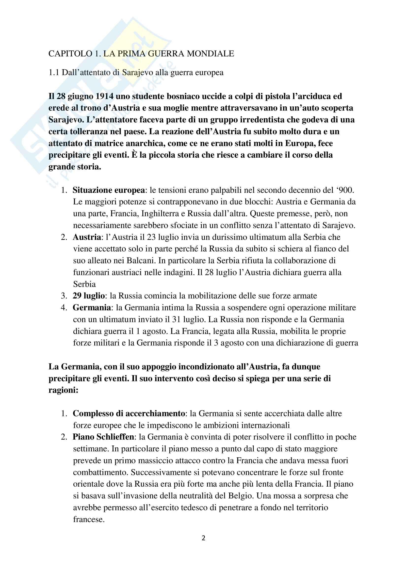 Riassunto esame Storia contemporanea, prof. Barcella, libro consigliato Il Novecento, Sabbattucci, Vidotto Pag. 2