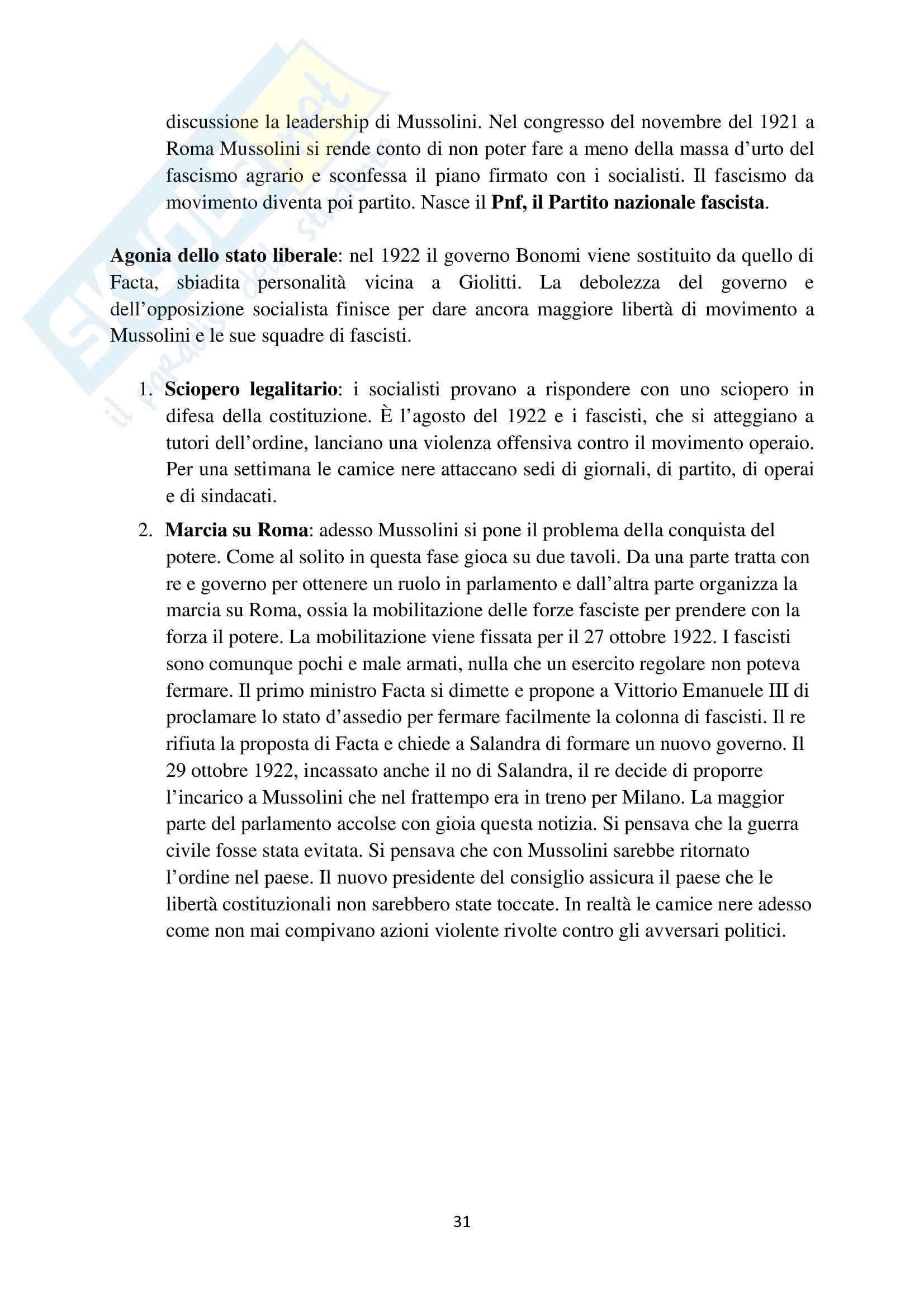 Riassunto esame Storia contemporanea, prof. Barcella, libro consigliato Il Novecento, Sabbattucci, Vidotto Pag. 31