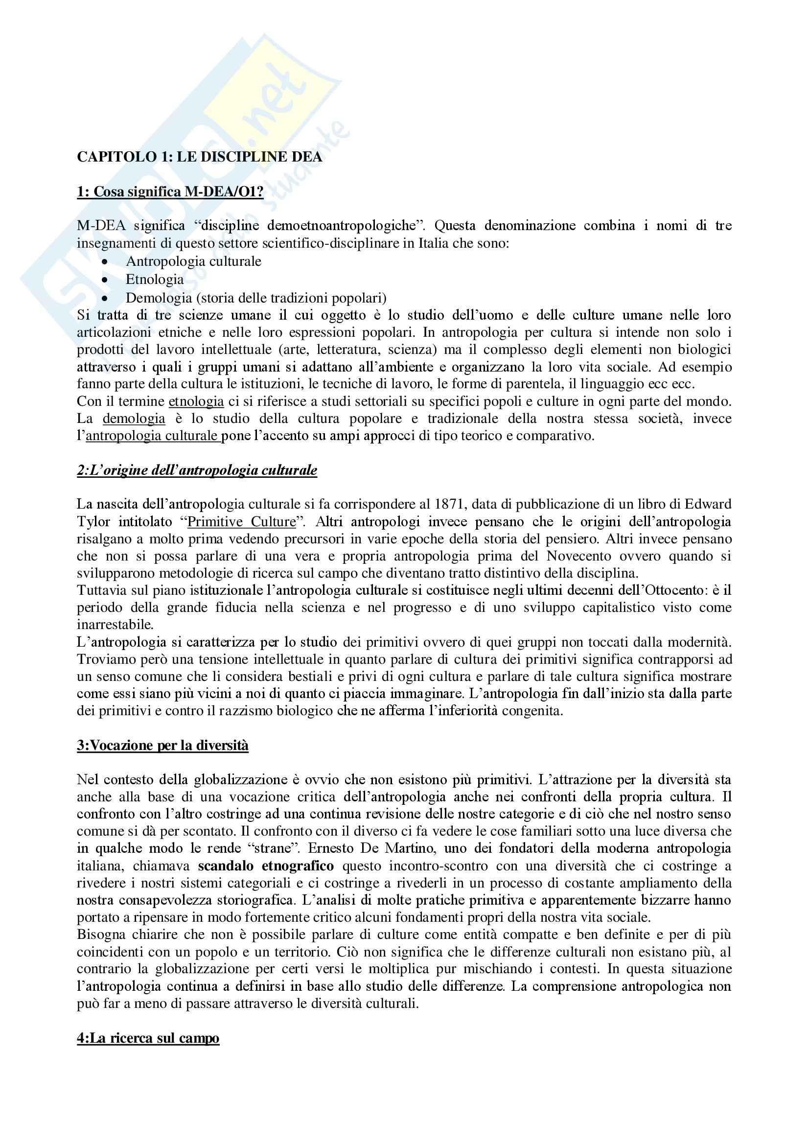 Riassunto esame Antropologia Culturale e Processi di Migrazione, prof. Sorgoni, libro consigliato Antropologia Culturale, Dei