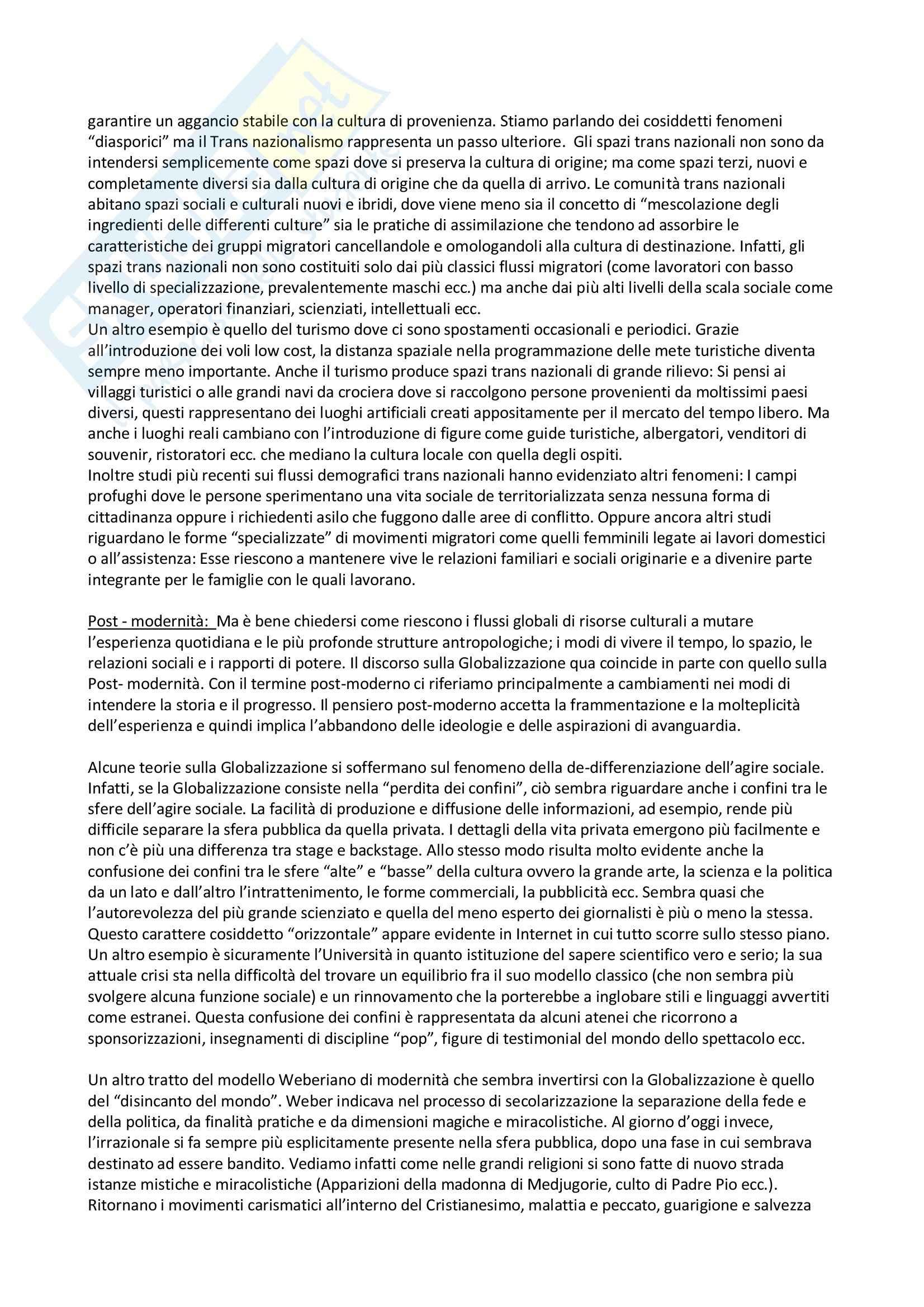 Riassunto esame Antropologia Culturale e Processi di Migrazione, prof. Sorgoni, libro consigliato Antropologia Culturale, Dei Pag. 41