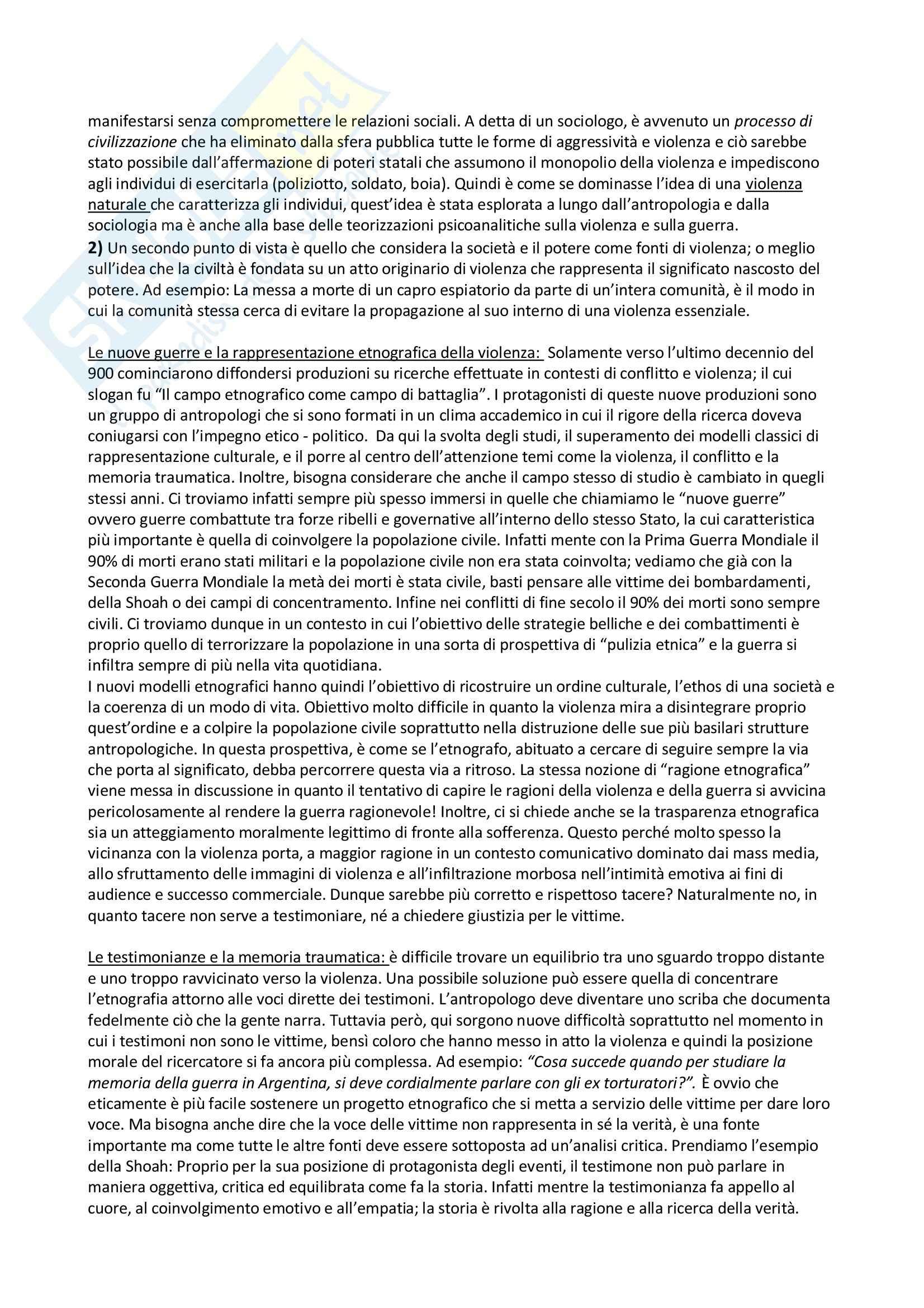 Riassunto esame Antropologia Culturale e Processi di Migrazione, prof. Sorgoni, libro consigliato Antropologia Culturale, Dei Pag. 46