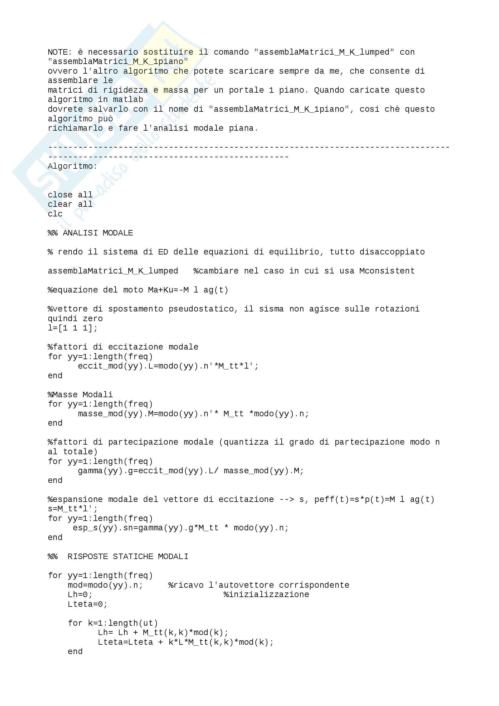 Algoritmo Matlab analisi modale2D