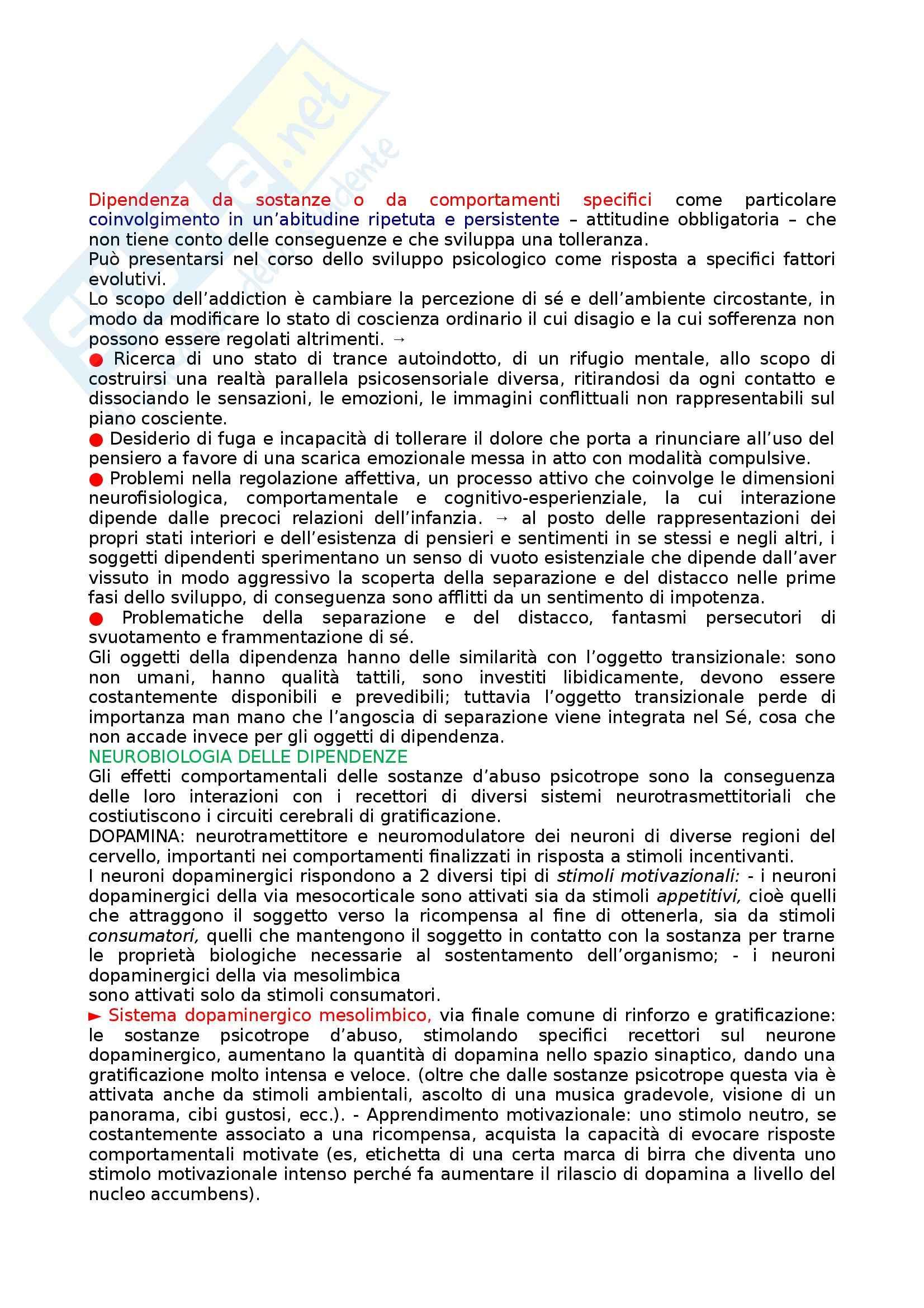 Riassunto esame Psicologia delle tossicodipendenze, prof. Di Blasi, libro consigliato Le dipendenze patologiche, Caretti, La Barbera