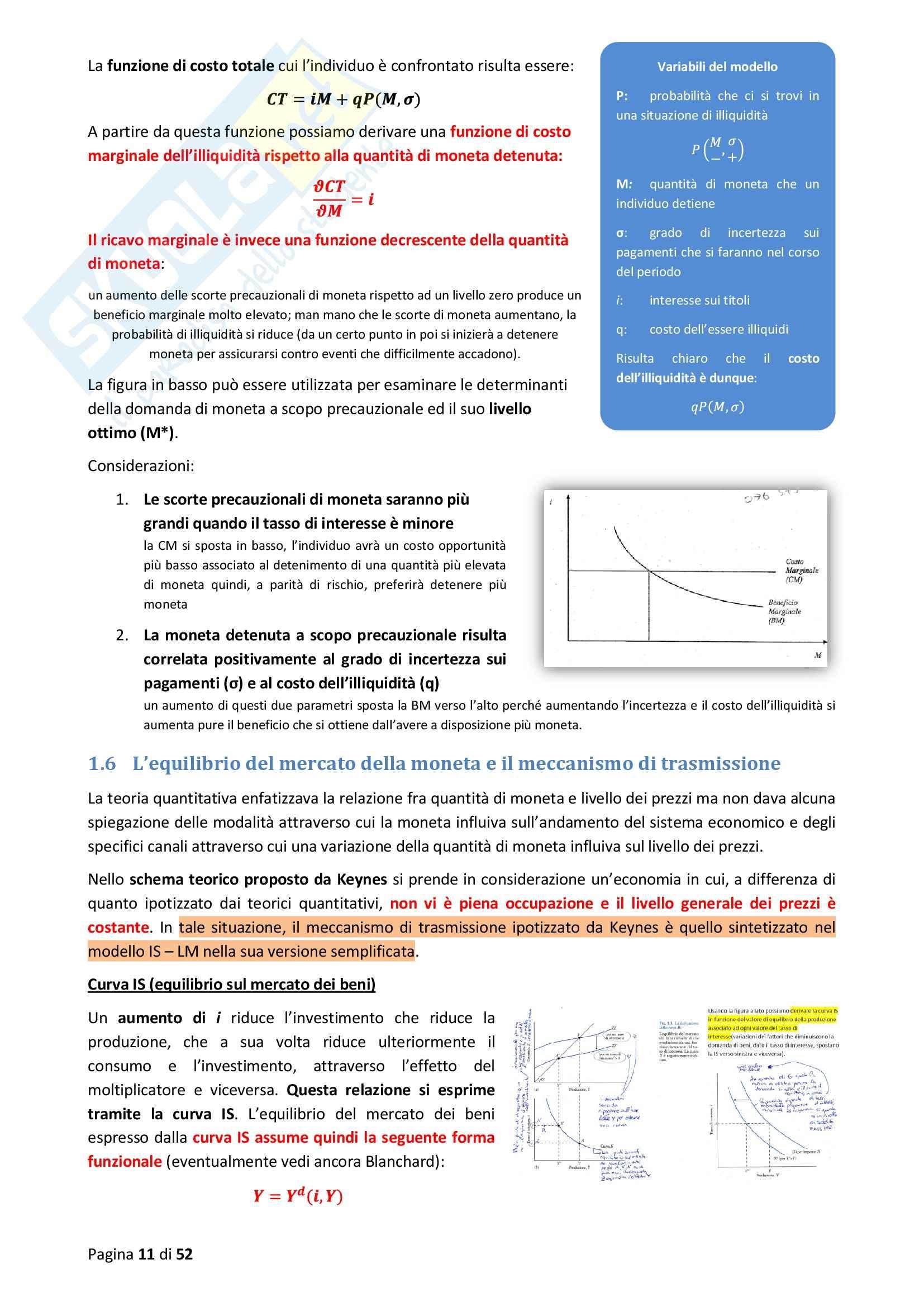 Riassunto esame Teoria e Istituzioni Monetarie, prof. Porta, libro consigliato Teoria e Istituzioni Monetarie Pag. 11