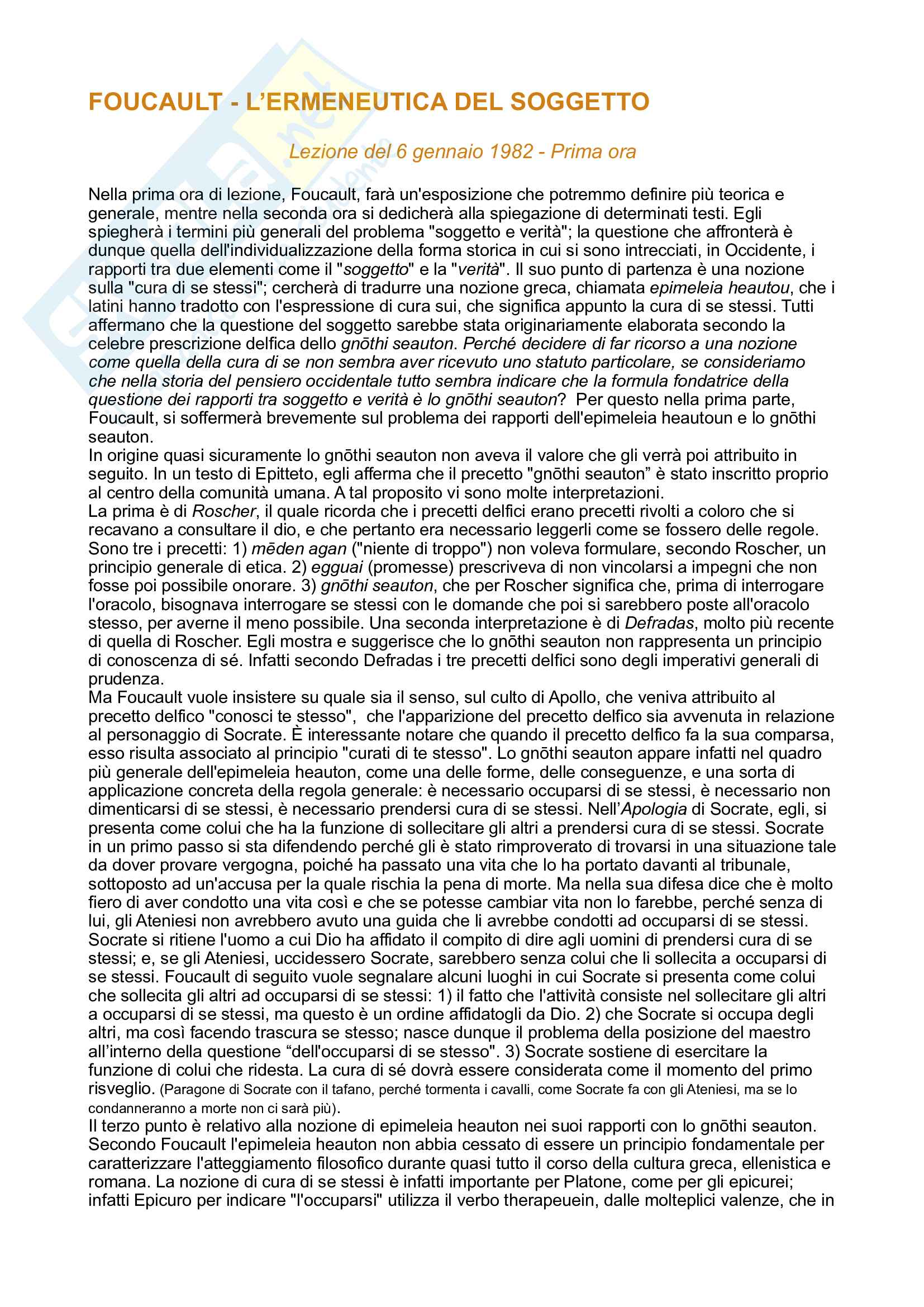 Riassunto esame Ermeneutica, prof. Fabbrichesi, libro consigliato L'ermeneutica del soggetto, Foucault
