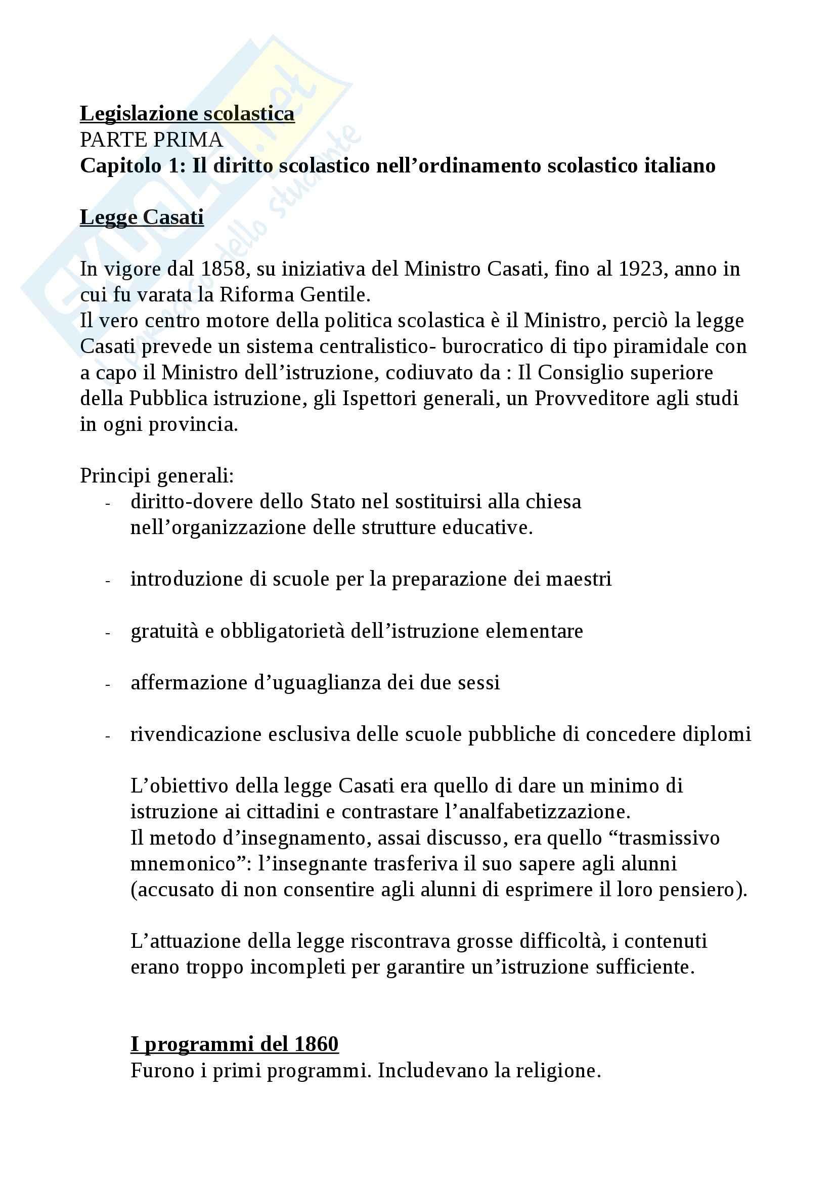 Riassunto esame Legislazione scolastica, prof. Calascibetta, libro consigliato Compendio di legislazione scolastica, Francavilla