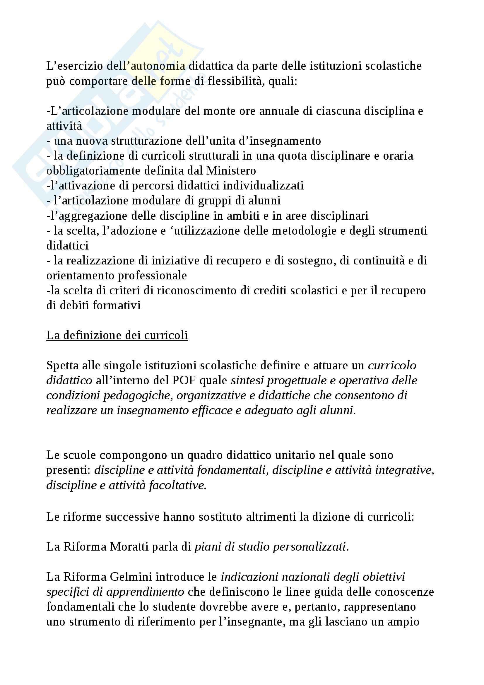 Riassunto esame Legislazione scolastica, prof. Calascibetta, libro consigliato Compendio di legislazione scolastica, Francavilla Pag. 11