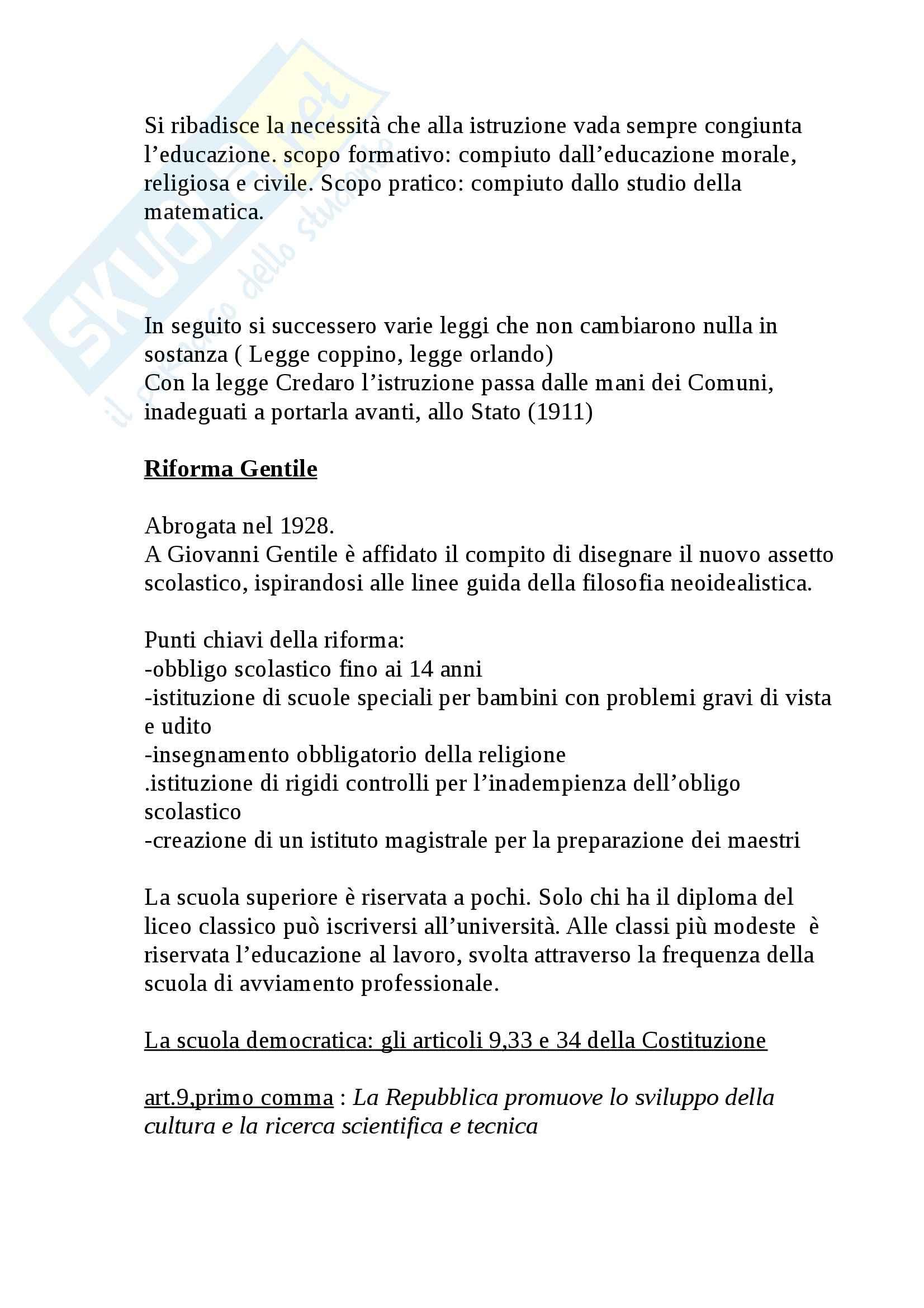 Riassunto esame Legislazione scolastica, prof. Calascibetta, libro consigliato Compendio di legislazione scolastica, Francavilla Pag. 2