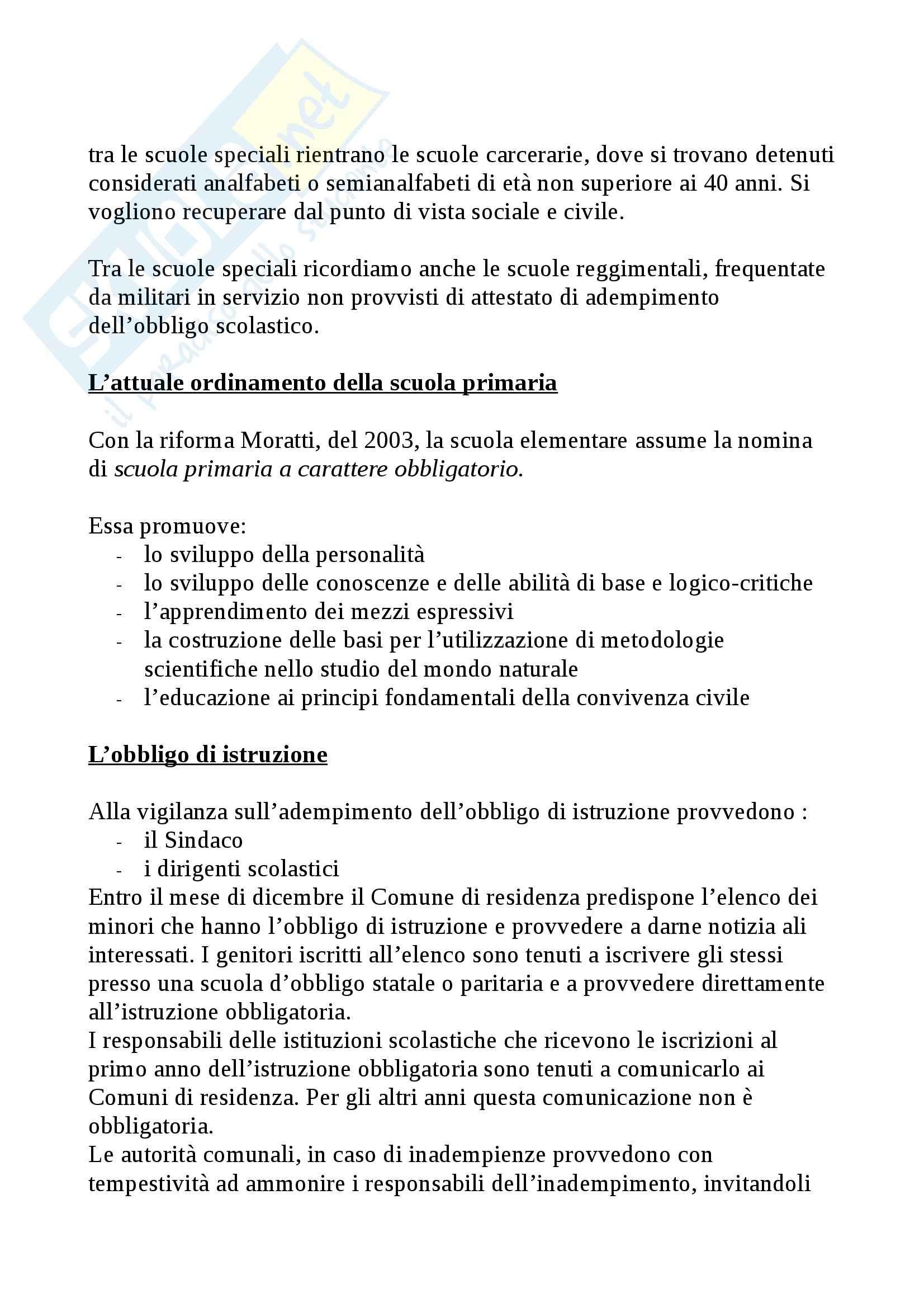 Riassunto esame Legislazione scolastica, prof. Calascibetta, libro consigliato Compendio di legislazione scolastica, Francavilla Pag. 21