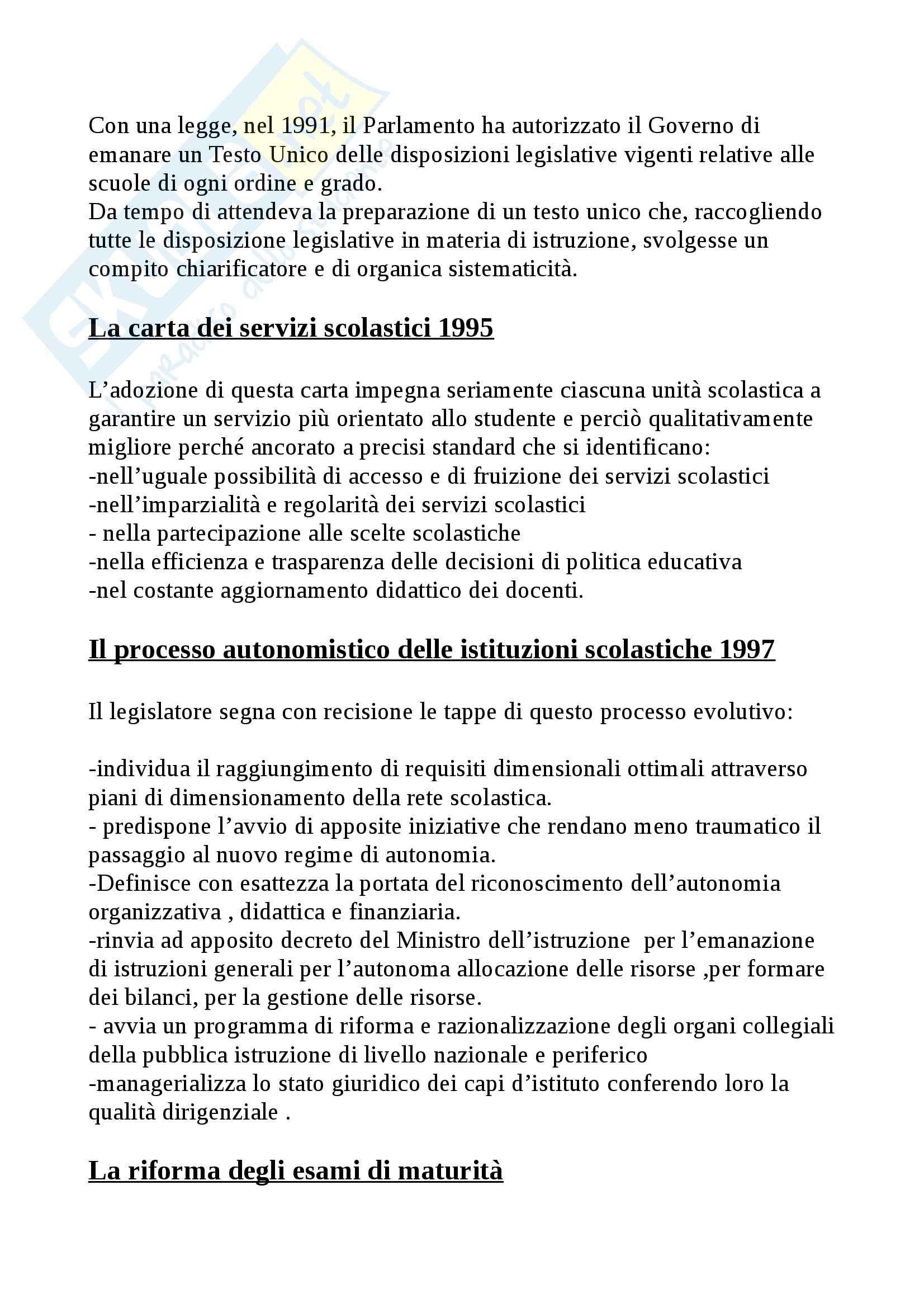 Riassunto esame Legislazione scolastica, prof. Calascibetta, libro consigliato Compendio di legislazione scolastica, Francavilla Pag. 6