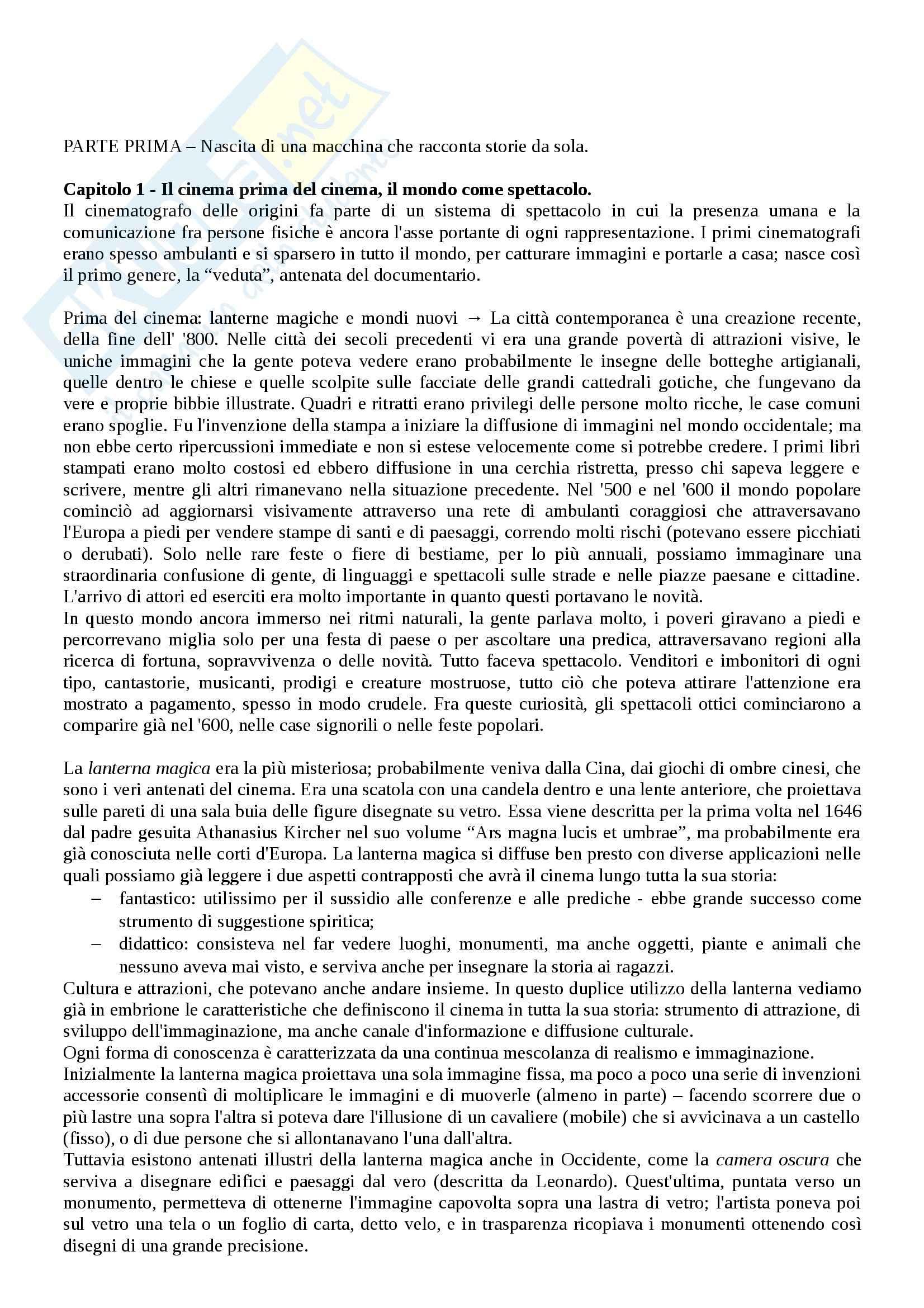 Riassunto esame Storia del cinema, prof. Bernardi, libro consigliato L'avventura del cinematografo, Bernardi