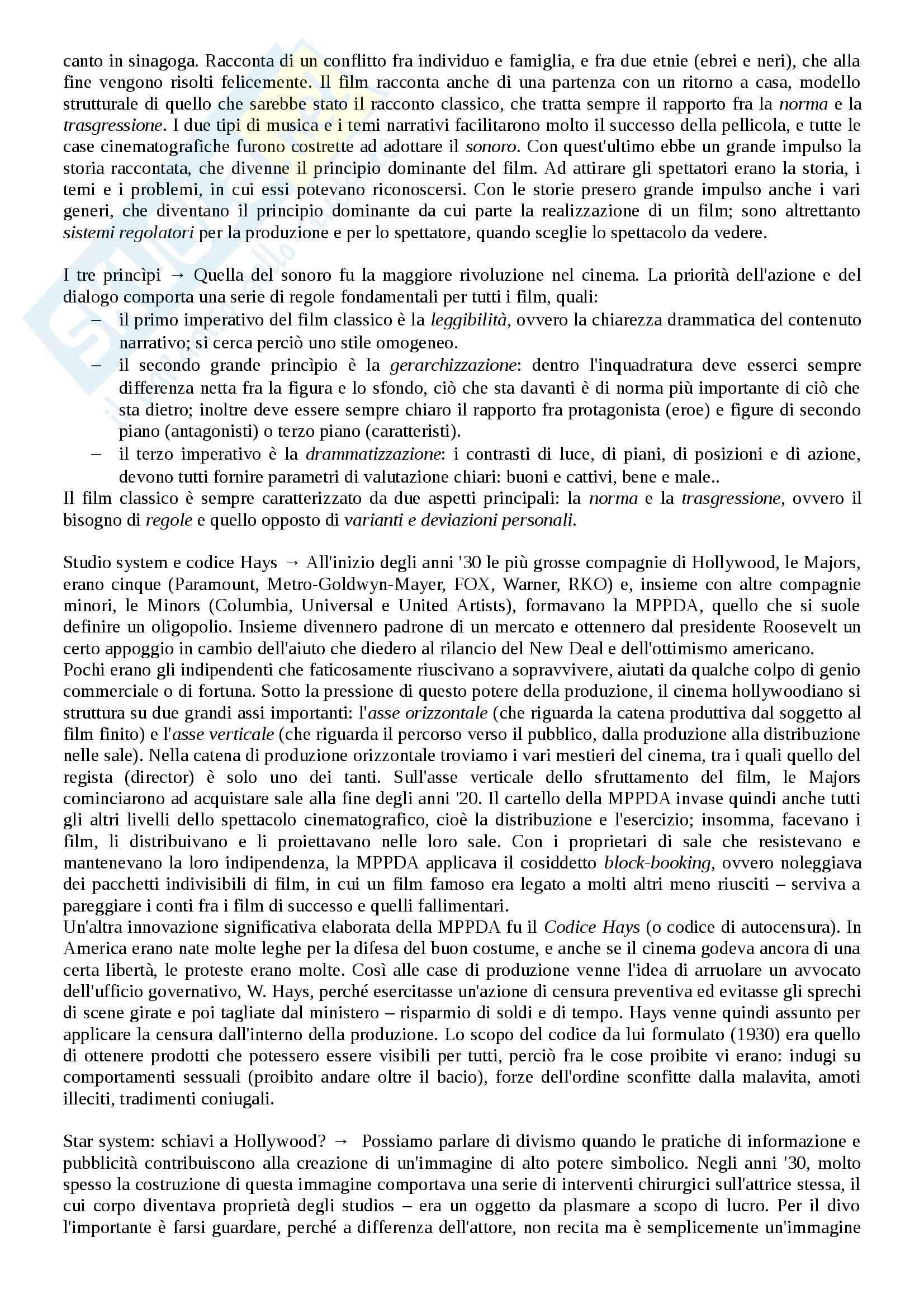 Riassunto esame Storia del cinema, prof. Bernardi, libro consigliato L'avventura del cinematografo, Bernardi Pag. 31