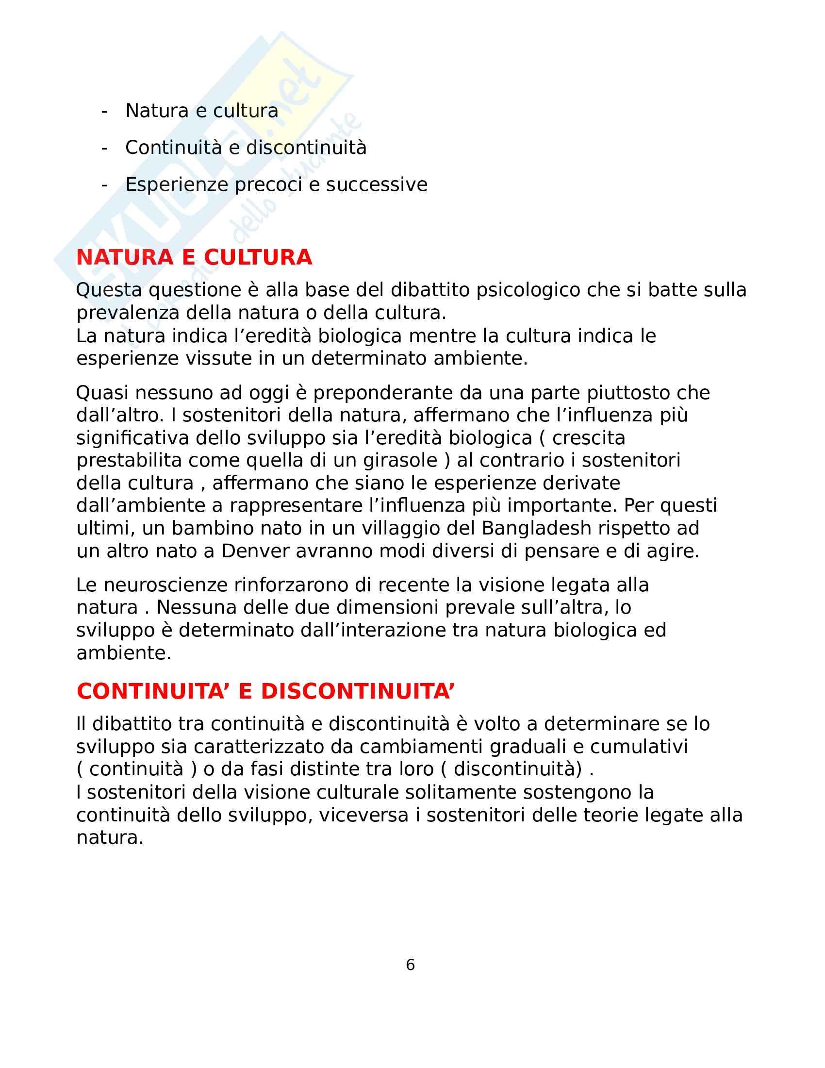Riassunto esame Psicologia dello sviluppo, prof. Traverso, libro consigliato Psicologia dello sviluppo, Santrock ( Capitolo 1-8 ) Pag. 6