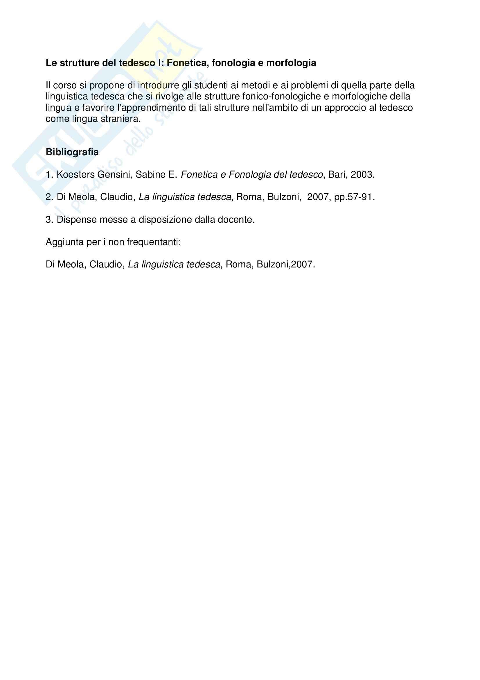 Strutture del tedesco - Fonetica, fonologia e morfologia