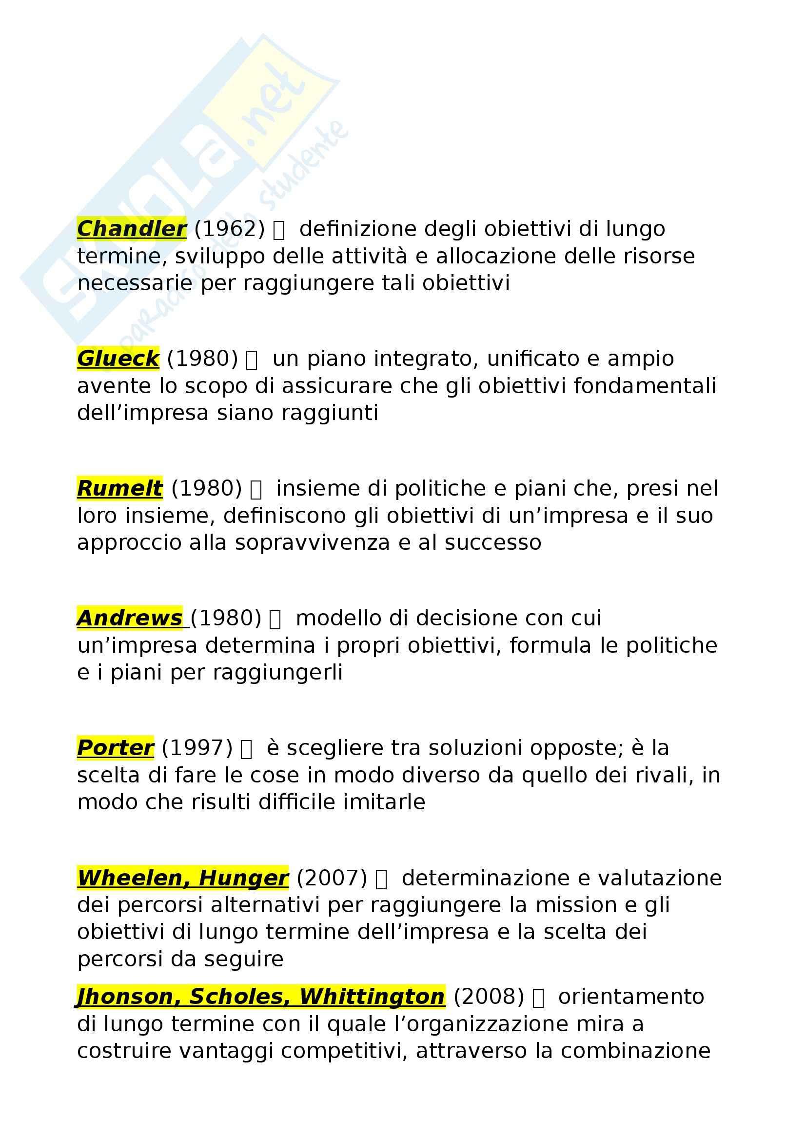 Riassunto esame Economia e gestione delle imprese, prof. Miglietta, libro consigliato Strategie d'impresa, Pellicelli
