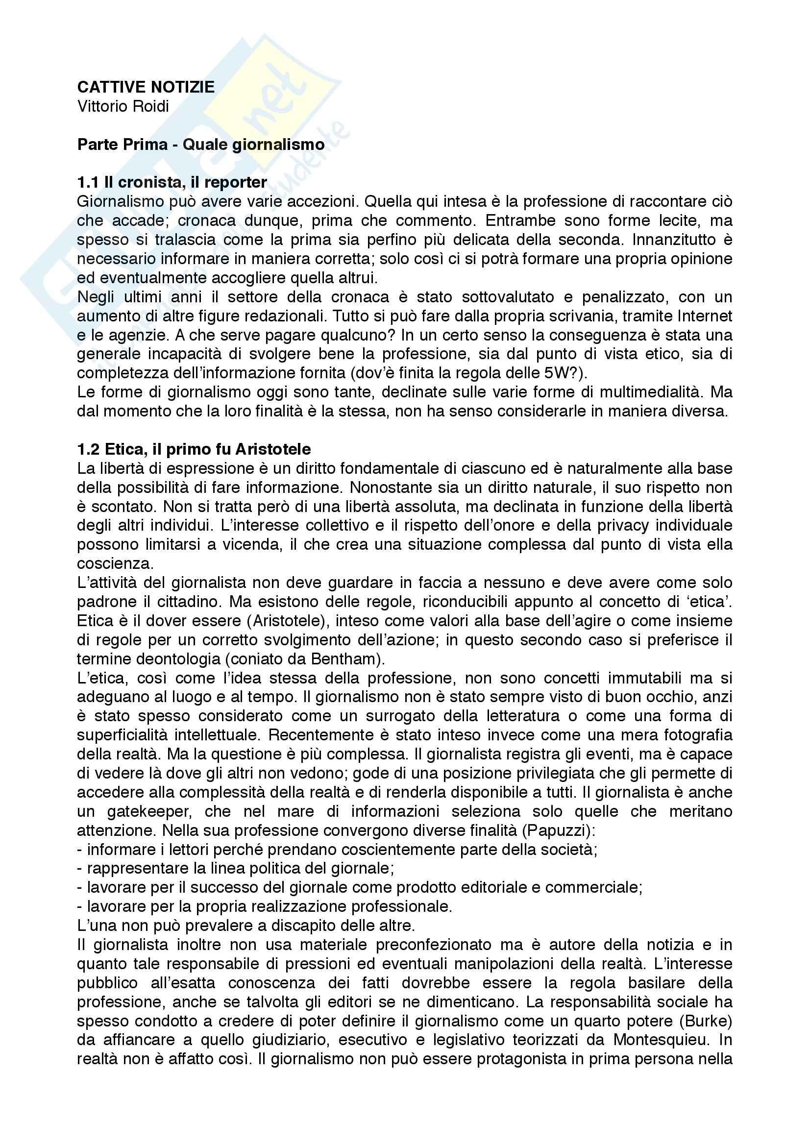 appunto V. Roidi TEORIA ETICA E REGOLAMENTAZIONE DEL GIORNALISMO