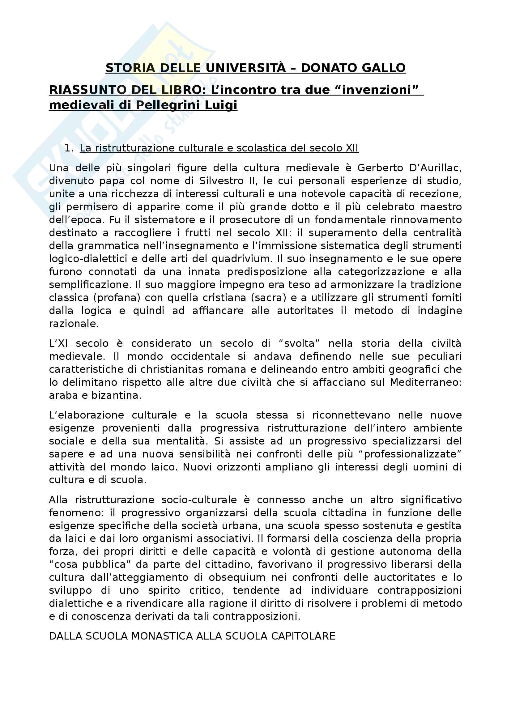 Riassunto esame Storia delle università, prof Gallo, libro consigliato L'incontro tra due invenzioni medievali, Pellegrini