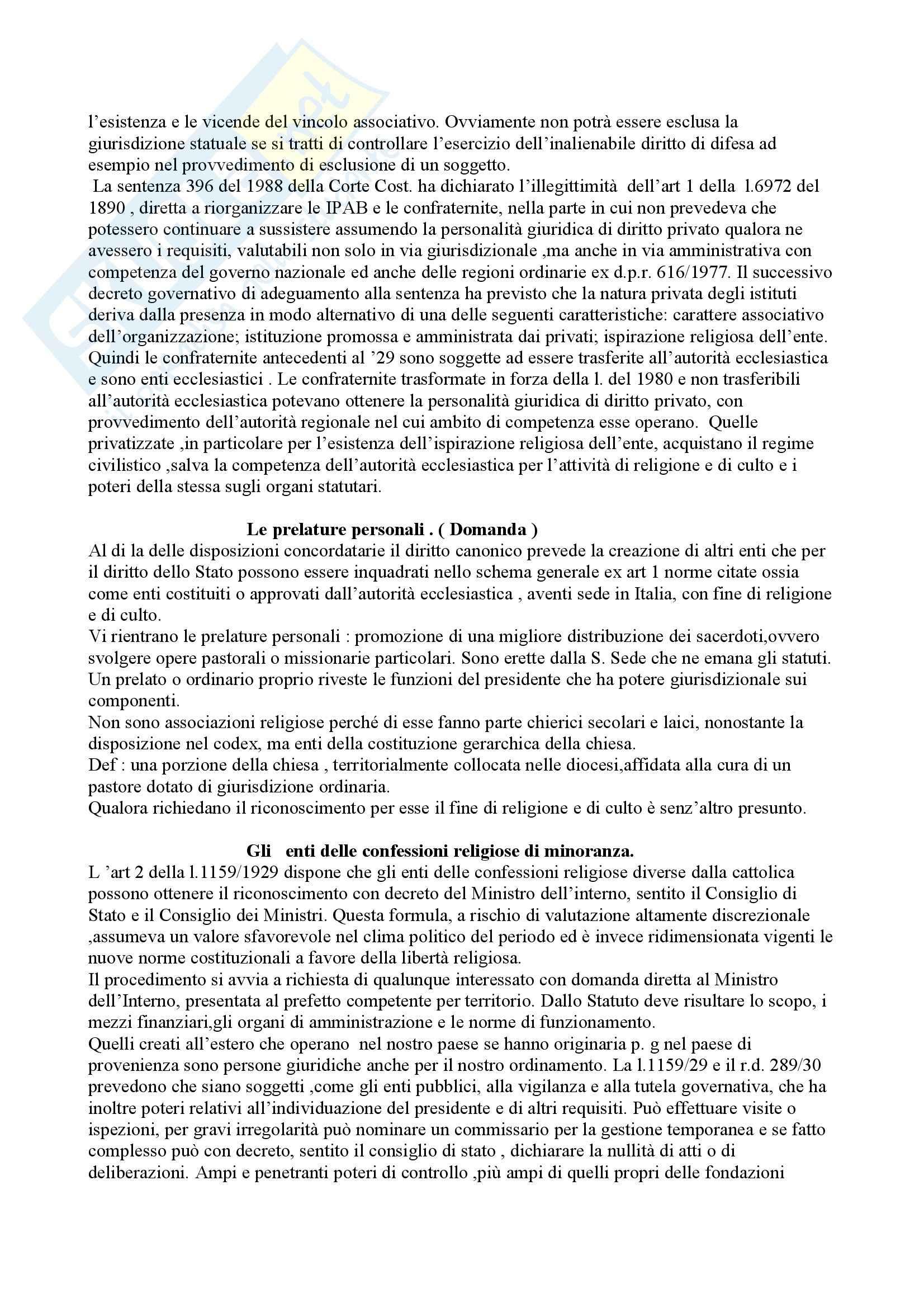 Diritto ecclesiastico - personalità giuridica degli enti confessionali Pag. 11