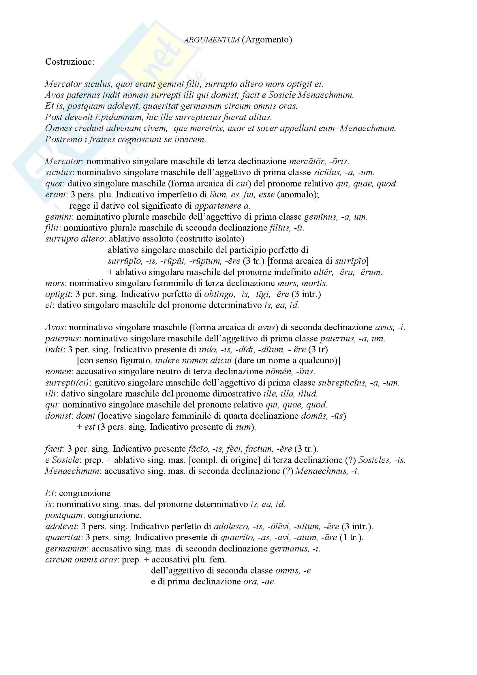 Riassunto esame Fortuna della cultura classica, prof. Danese, libro consigliato Menecmi, Plauto: costruzioni