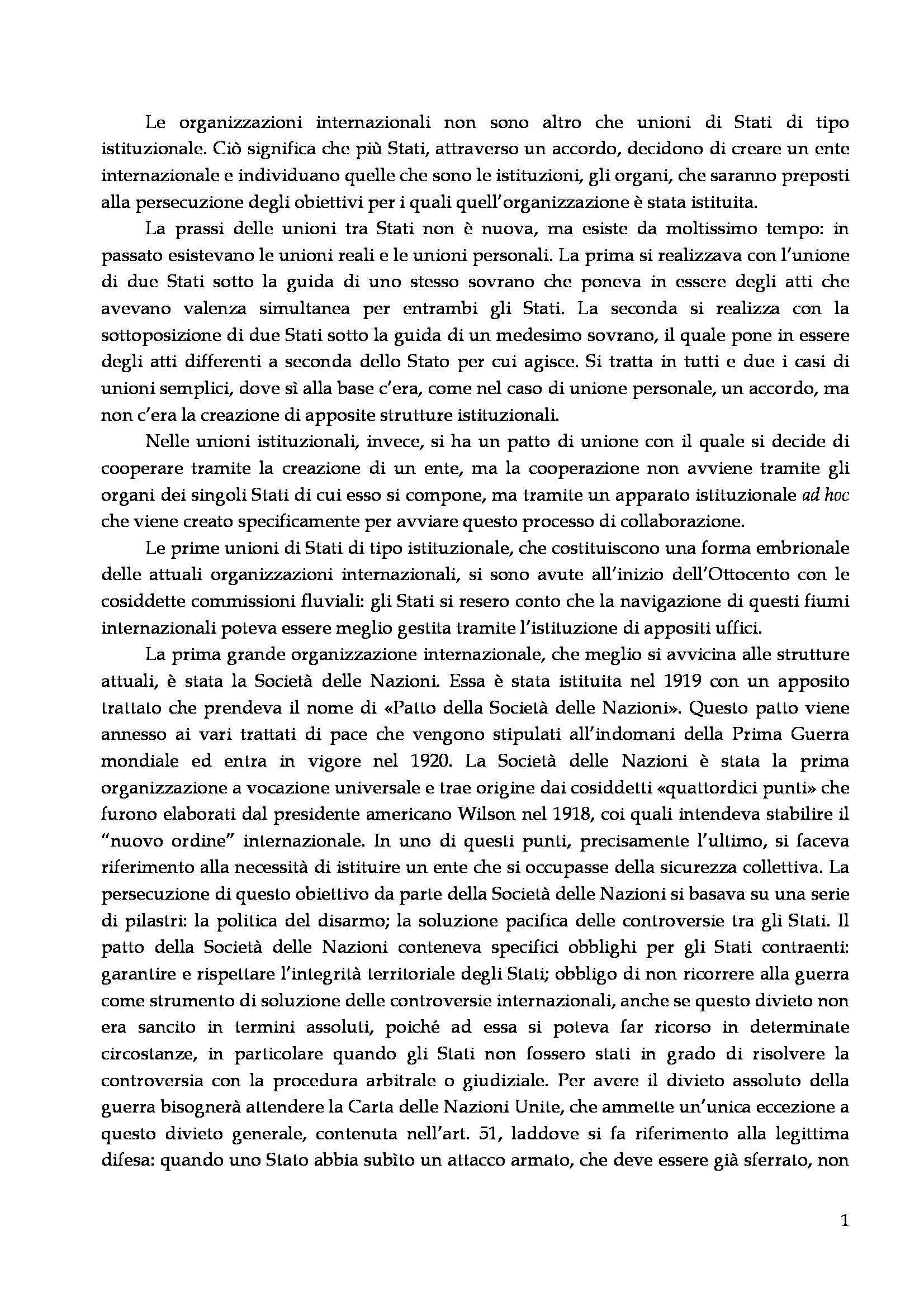 Diritto delle organizzazioni internazionali - Appunti