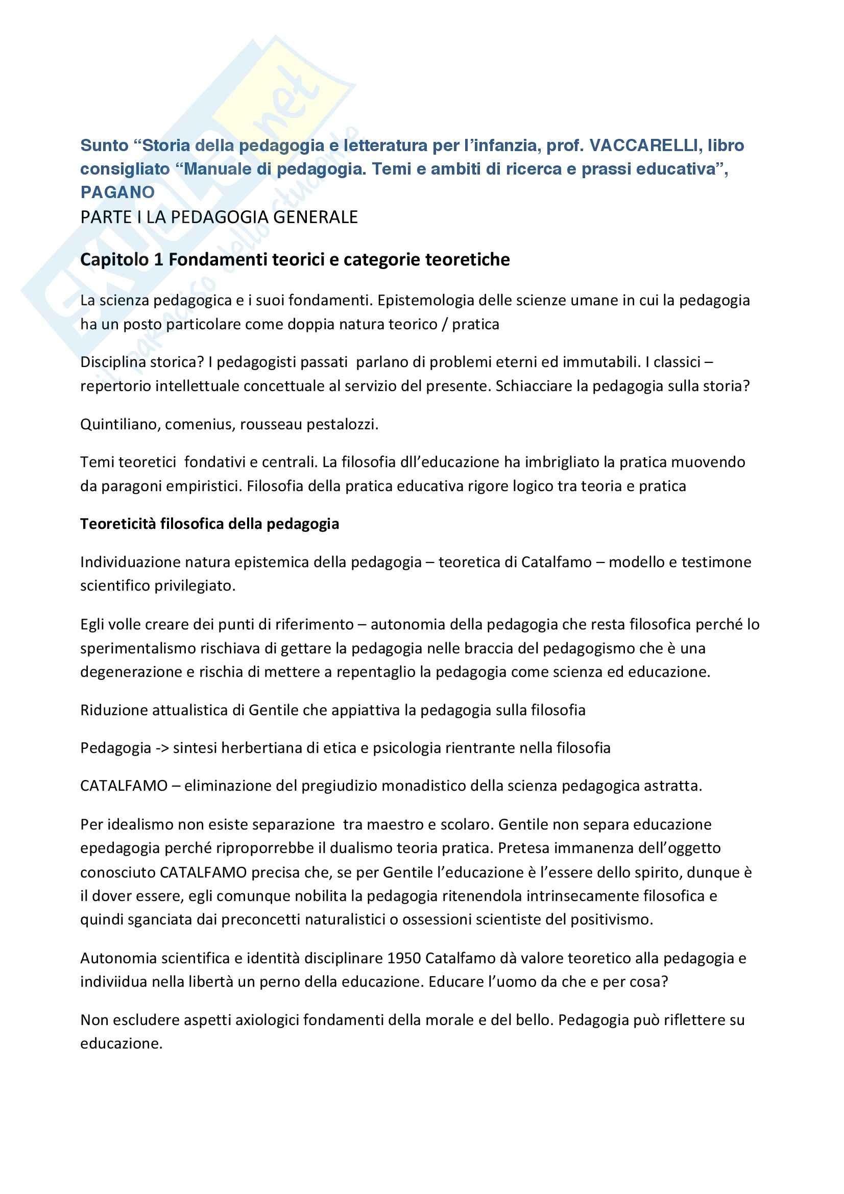 Riassunto esame Storia della pedagogia, prof. Vaccarelli, libro consigliato Manuale di pedagogia, Pagano